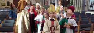primary school children in pilgrim day fancy dress